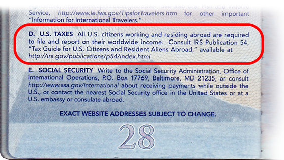 Passport back page